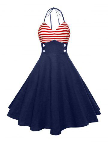 Halter American Flag Vintage Dress Rouge M