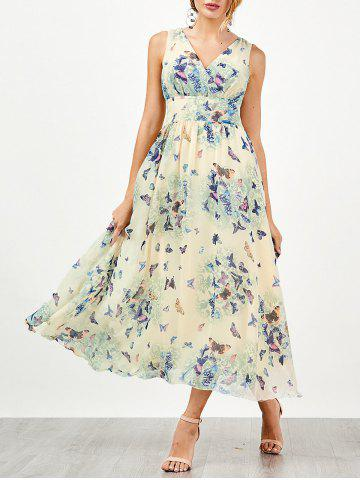 Sale Bohemian Butterfly Print Tea Length Maxi Dress PALOMINO M