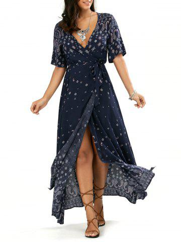 Paisley Slit Wrap Plunge Maxi Boho Dress