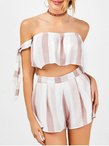 Stripe Strapless Top and High Waisted Shorts - Red With White - Xl