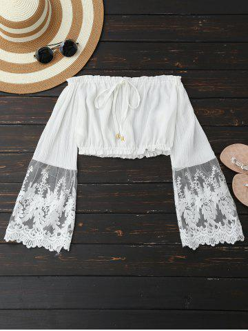 Embroidered Mesh Panel Cropped Blouse