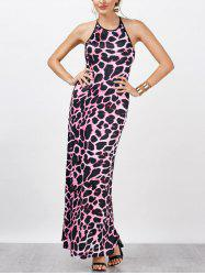 Leopard Print Fitted Maxi Evening Dress