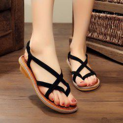 Cross Strap Elastic Sandals - BLACK