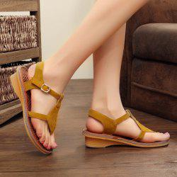 Suede Belt Buckle Sandals - GINGER