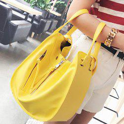 Stitching PU Leather Convertible Totes - YELLOW