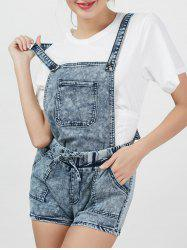 Bleach Wash Suspender Denim Romper - Bleu