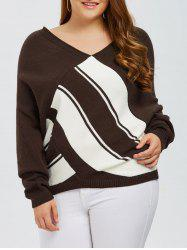 Plus Size V Neck Color Block Sweater - COFFEE