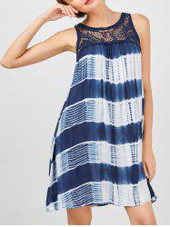 Sleeveless Tie Dye A Line Casual Dress - BLUE AND WHITE