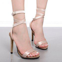 Cross Strap Velvet Stiletto Heels Sandals