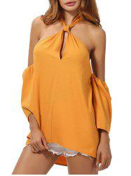 Backless High Low Cold Shoulder Top - DEEP YELLOW M