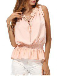 Chiffon V Neck Peplum Top