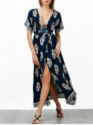Self Tie Plunging Neck Printed Maxi Dress