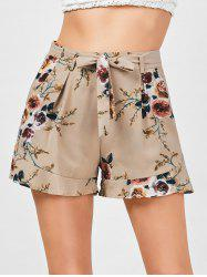 Belted High Waisted Floral Shorts - KHAKI