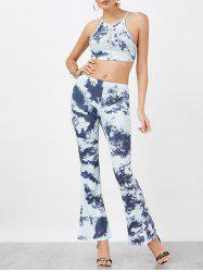 Backless Crop Top and Tie-Dyed Flare Pants