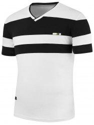 Stripe Panels V Neck T-Shirt