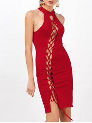 Criss Cross Sleeveless Backless Bodycon Club Dress - Rouge
