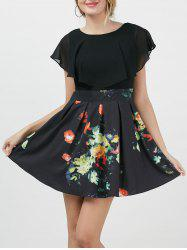 Chiffon Insert Floral A Line Dress with Sleeves