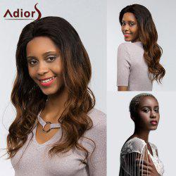 Adiors Dyed Two Tone Long Body Wave Side Part Fluffy Lace Front Synthetic Hair