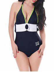 Halter Backless Color Block Swimsuit