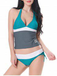 Color Block Halter Tankini Set