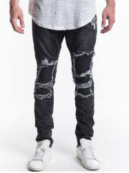 Patch Design Zip Fly Ripped Jeans