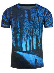 3D Forest Footpath Print T-Shirt