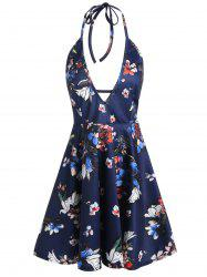 Plunging Neckline Backless Halter Floral Dress