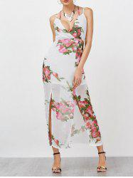 Empire Waist Chiffon Floral Surplice Maxi Dress