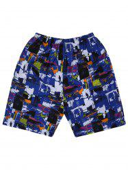 Elastic Waist Graffiti Shorts - COLORMIX