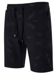 Feather Printed Drawstring Shorts - BLACK