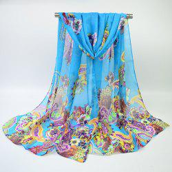 Ethnic Multicolor Blooming Flowers Printed Chiffon Scarf