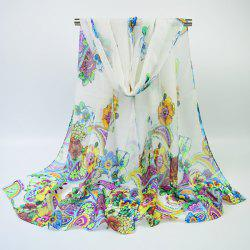 Ethnic Multicolor Blooming Flowers Printed Chiffon Scarf - OFF-WHITE