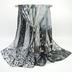 Fine Gauze Chiffon Ombre Floral Printing Scarf - BLACK