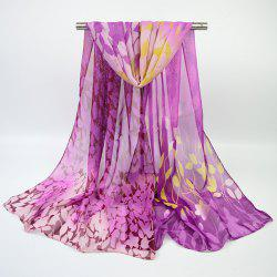 Fine Gauze Chiffon Ombre Floral Printing Scarf - PURPLE