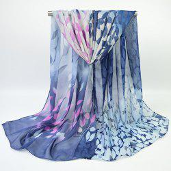 Fine Gauze Chiffon Ombre Floral Printing Scarf - DEEP BLUE