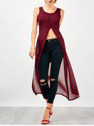 U Neck Slit Chiffon Long Top