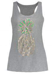 Racerback Pineapple Print Tank Top - GRAY S