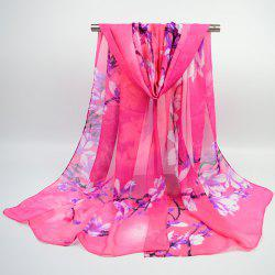 Flowering Branch Printed Chiffon Lightsome Shawl Scarf - TUTTI FRUTTI