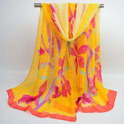 Gossamer Flowering Branch Printing Shawl Scarf - ORANGE YELLOW