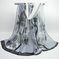 Gossamer Flowering Branch Printing Shawl Scarf - BLACK GREY