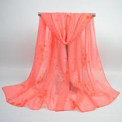 Tiny Flowers Printed Chiffon Gossamer Shawl Scarf - WATERMELON RED