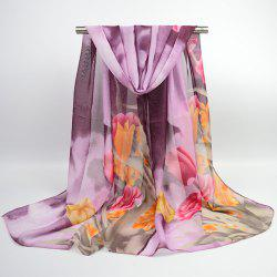 Chiffon Multicolor Blossom Printed Shawl Scarf - PURPLE