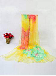 Ice Silk Gossamer Digital Inkjet Printed Flowers Scarf