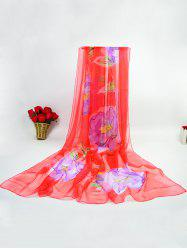 Showy Flowers Printed Ice Silk Gossamer Scarf