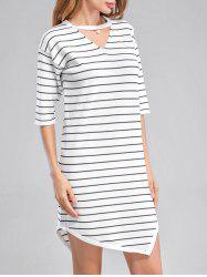 Keyhole Stripe Mini Dress
