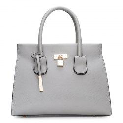 Metal Detail Pendant PU Leather Convertible Totes - GRAY