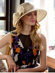Striped Ribbon Bowknot Big Floppy Sun Hat - CHAMPAGNE