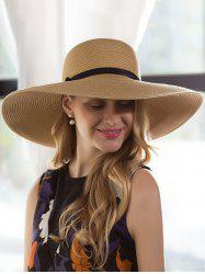 Ribbon Bowknot Broad Brimmed Beach Straw Hat -