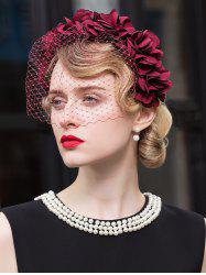 Flowers Mesh Veil Hair Hoop Cocktail Hat - WINE RED