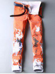 Colored Wash Cuffed Paint Jeans